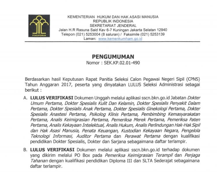 Pengumuman CPNS Kementrian Hukum dan HAM