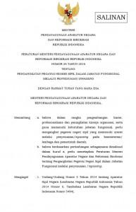 Permenpan Nomor 26 Tahun 2016 tentang Pengangkatan PNS Dalam Jabatan Fungsional Melalui Inpasing