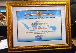 Penghargaan untuk arsip kota pekanbaru